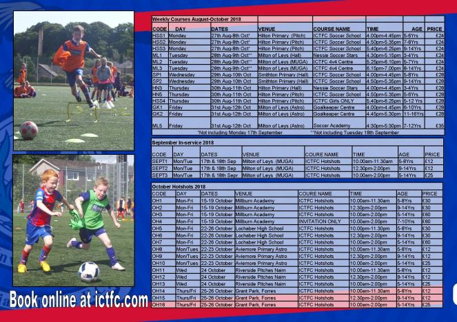 Weekly ICTFC sessions to October